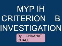 MYP  IH Criterion B - Investigating