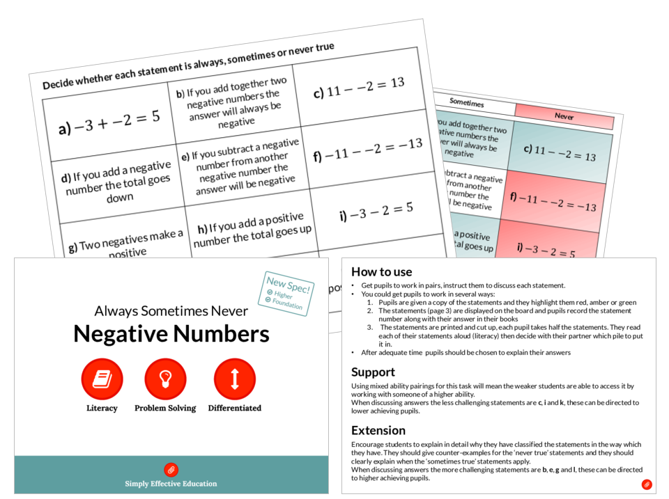 Negative Numbers (Always, Sometimes, Never)