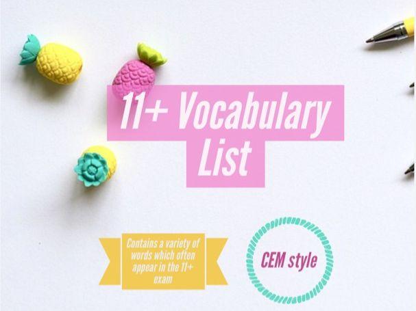 11+ Vocabulary List