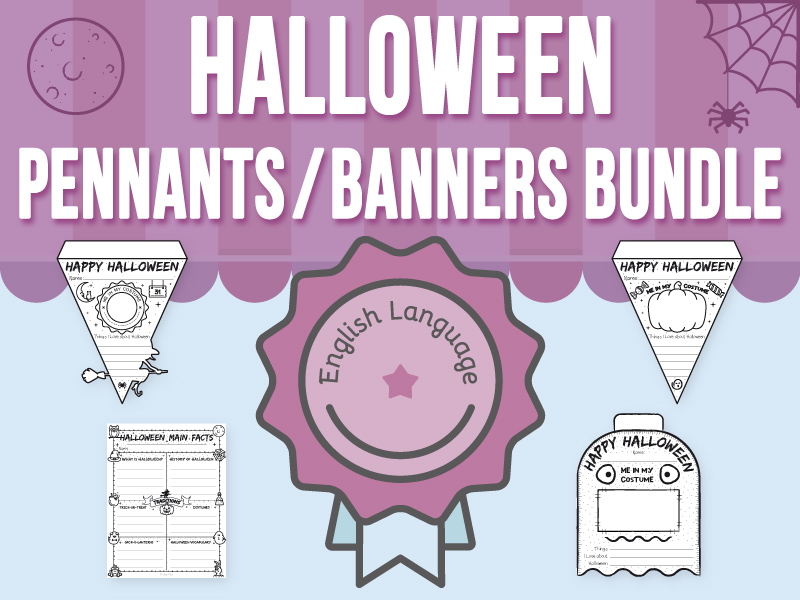 Halloween Pennants / Banners and Main Facts - ENGLISH BUNDLE