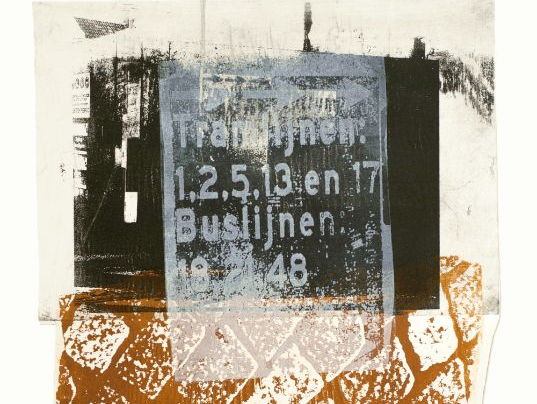 Urban collage in print art tram-billboard, pavement & buildings, Amsterdam Station - free download