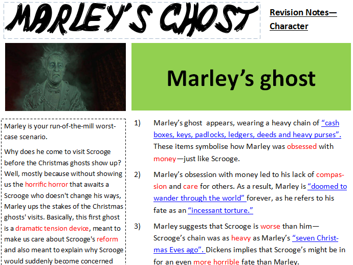 AQA - Lit - A Christmas Carol - Marley Revision Notes