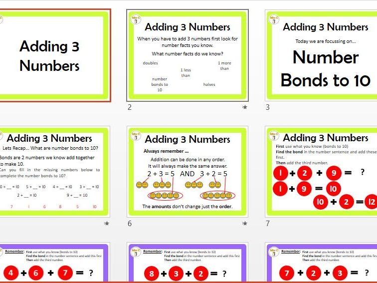 Adding 3 Numbers (Bonds to 10)