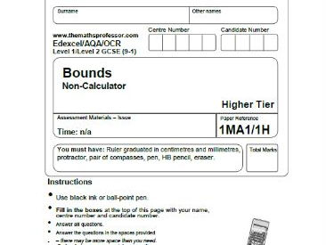 1-9 GCSE EXAM PAPER QUESTIONS ON BOUNDS