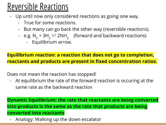 Physical Chemistry #20: Chemical Equilibria & Le Chatelier's Principle (Slides & Student Led Tasks)