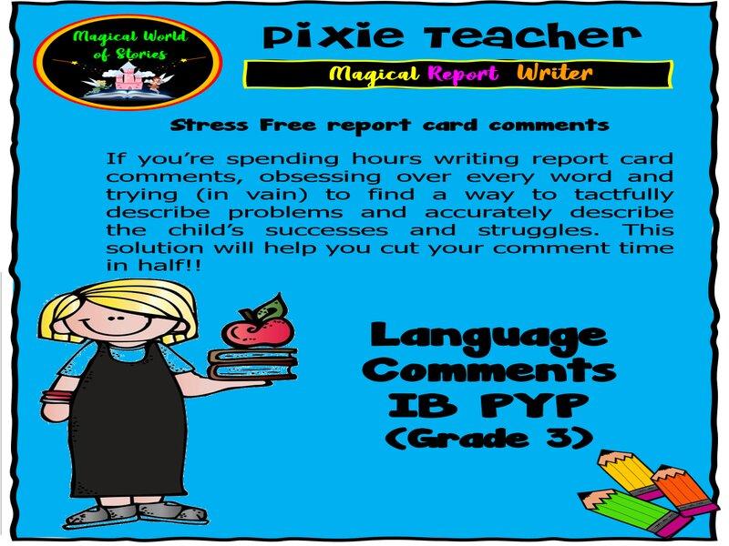 IB PYP Report Card Comments - Language
