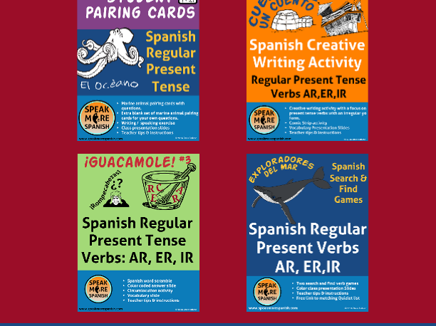 Spanish Regular Present Tense Verbs BUNDLE. Presente Verbos Regulares AR,ER,IR