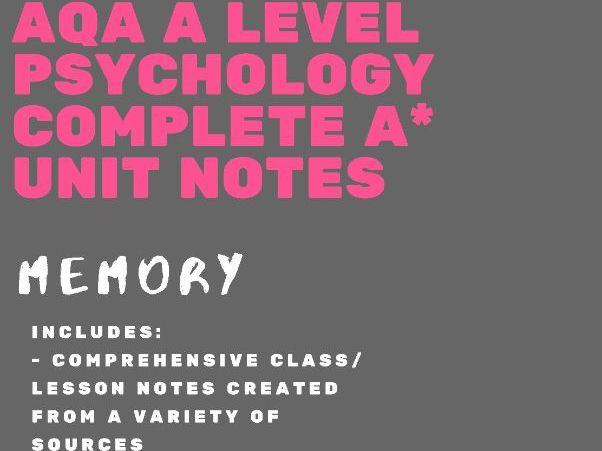 AQA A Level Psychology - Memory bundle