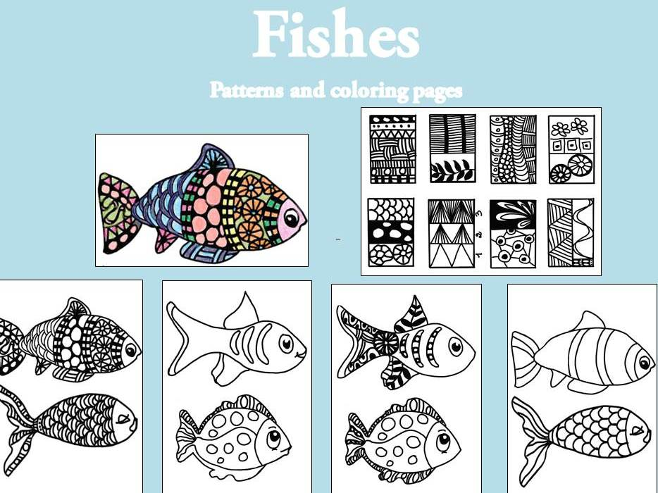 Fisches, patterns and coloring pages