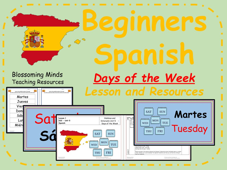 Spanish Lesson and Resources - KS2 - Days of the Week