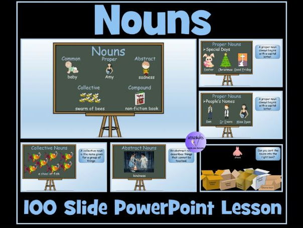 Nouns (Common, Proper, Abstract, Collective, Compound) 100 Slide Powerpoint Lesson