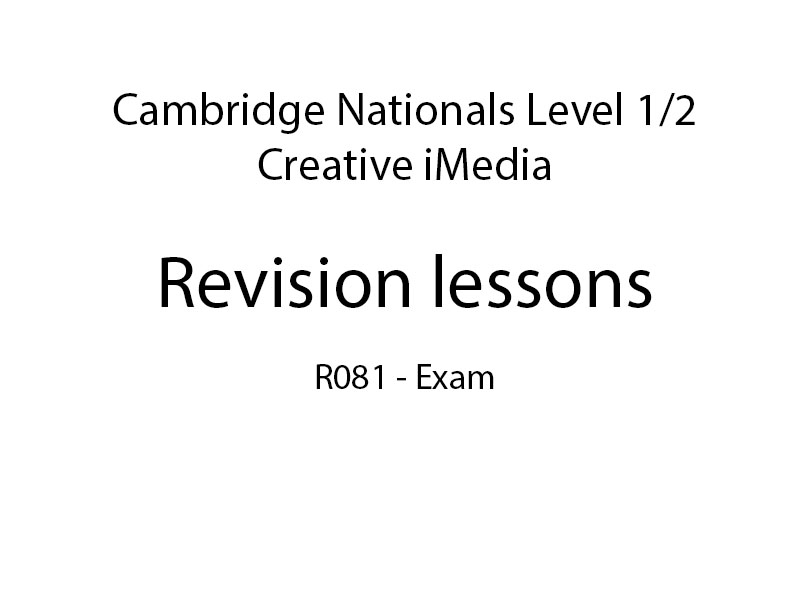 Creative iMedia R081: 5 revision lessons