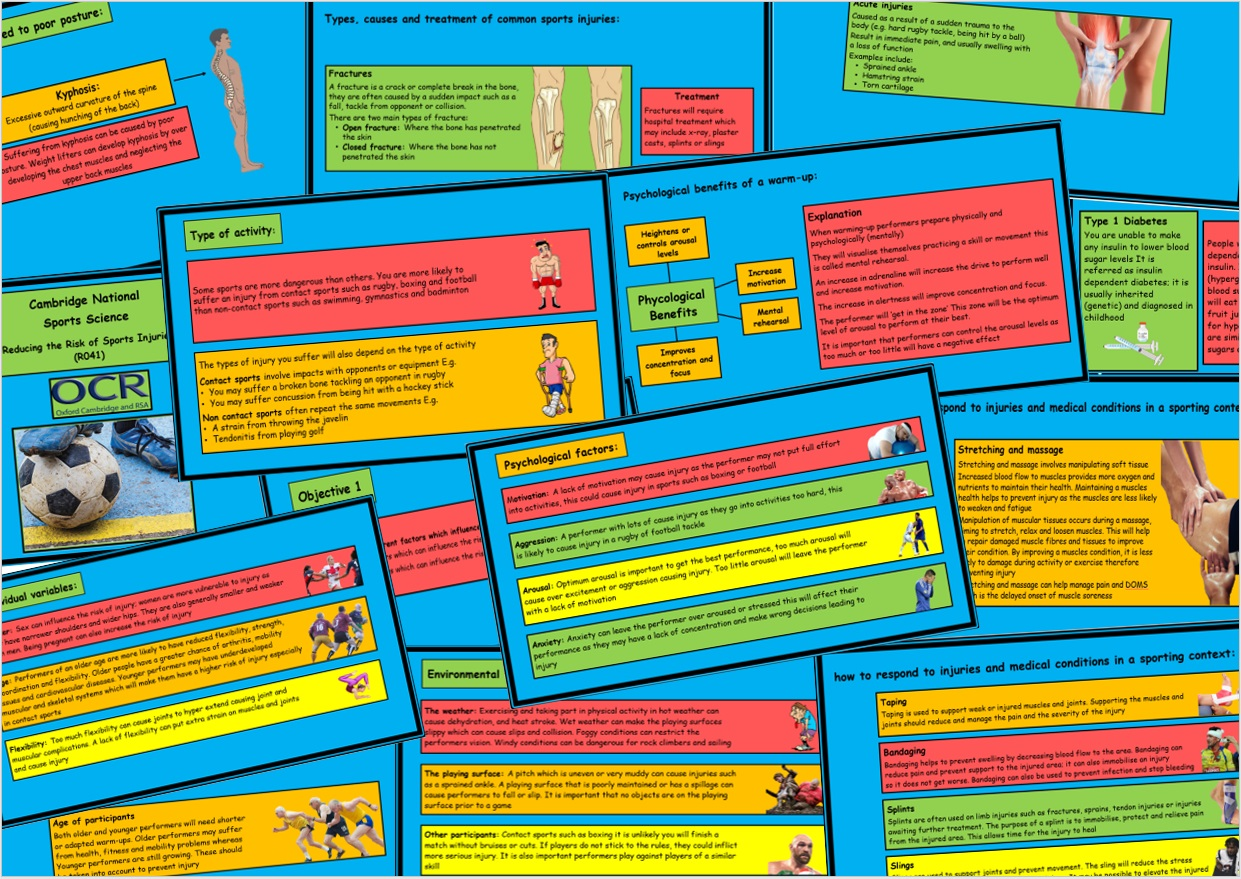 OCR Cambridge National in Sport Science - (R041) Reducing the Risk of Sports Injuries - Bundle of PowerPoints