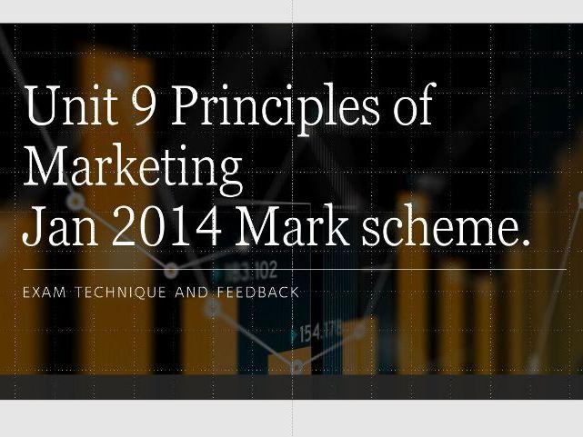 Unit 9 Principles of  Marketing January 2014 Examination Feedback