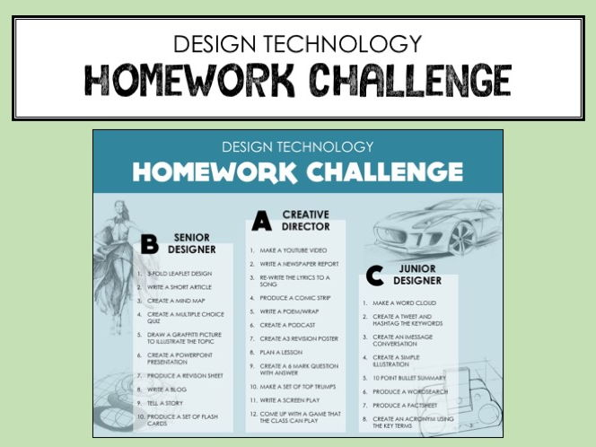 Design Technology - Homework Challenge for Differentiation