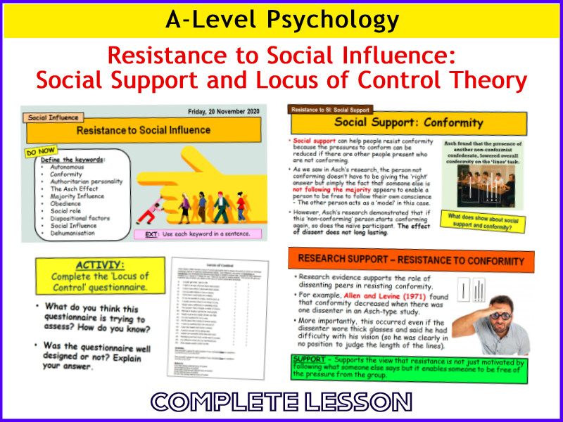 A-Level Psychology - RESISTANCE TO SOCIAL INFLUENCE - Social Support, LoC (Year 1 Social Influence)