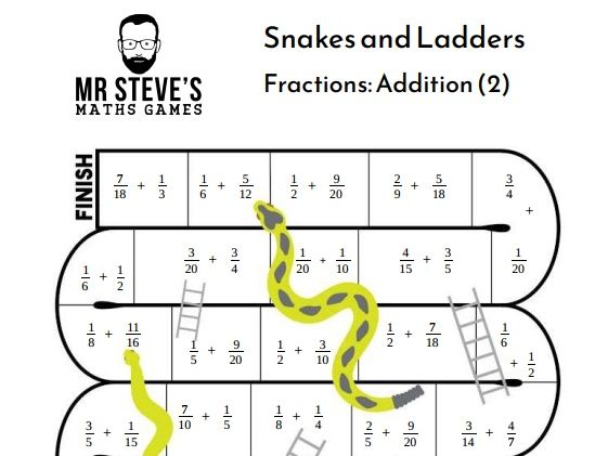 Add Fractions Game Snakes and Ladders Addition Year 6 Year 7 Year 8 ACMNA153 ACMNA126