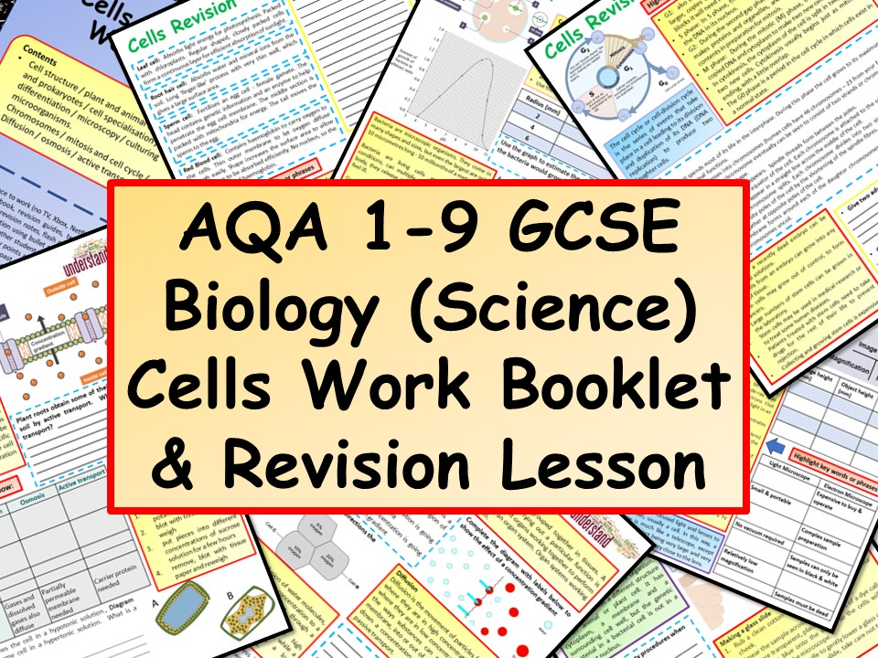AQA 1-9 GCSE Biology (Science) Cells Work Booklet & Revision Lesson