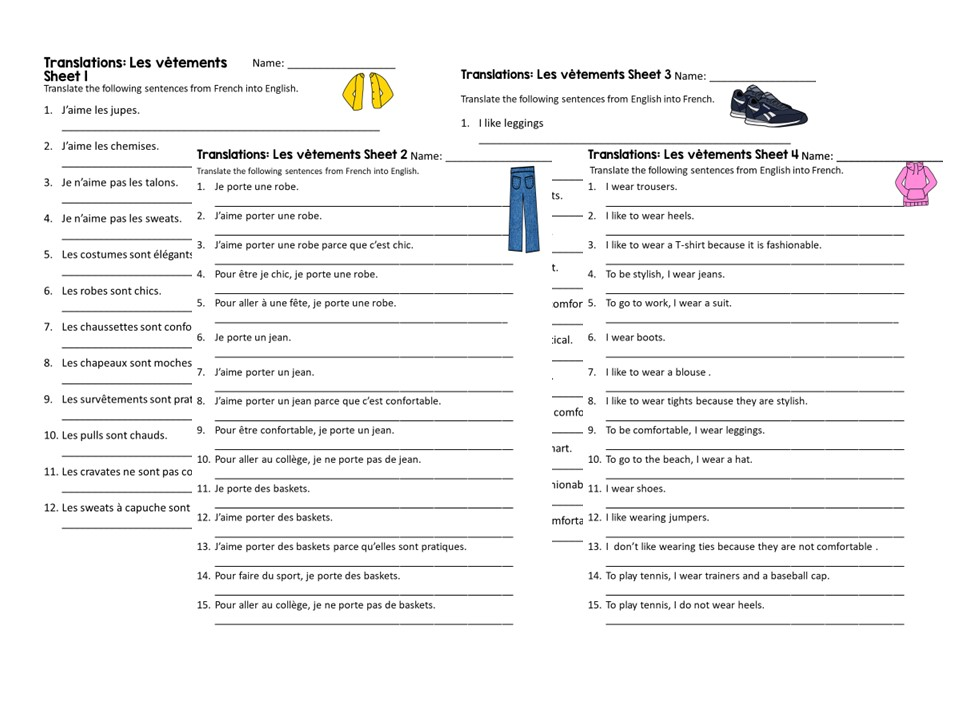 French Worksheet: Clothes (les vêtements) Translations