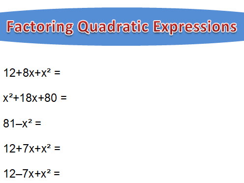 Factoring Quadratic Expressions (simple)