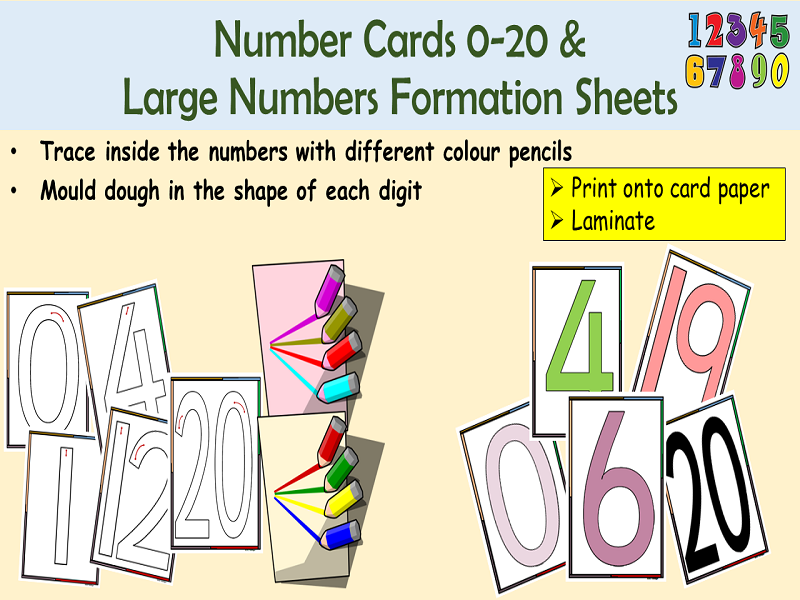 Large Numbers/Digit Cards 0-20 and Number Formation Cards