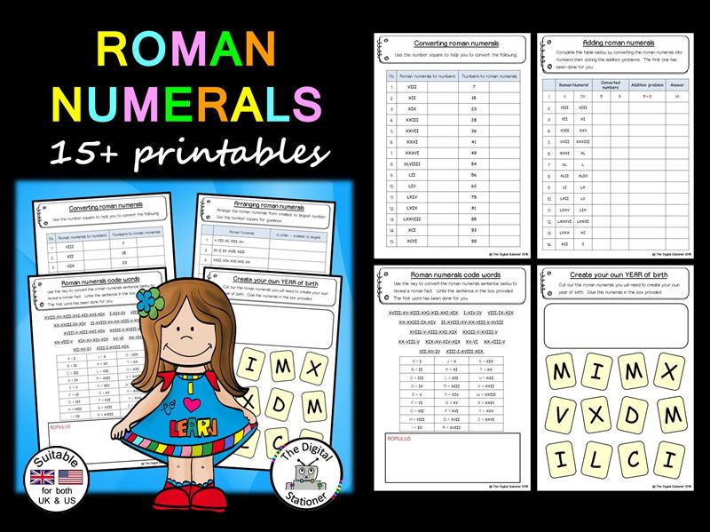 Roman Numerals (suitable for both the UK/US) - 15+ printables