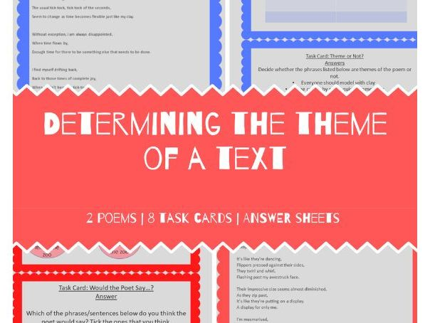 Theme of a Text Poems and Task Cards