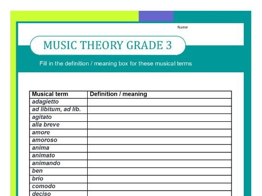 GRADE THREE MUSIC THEORY WORKSHEET - FILL IN THE DEFINITIONS by ...