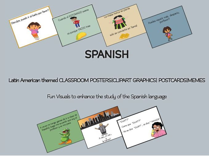 SPANISH Latin American themed CLASSROOM POSTERS|CLIPART GRAPHICS