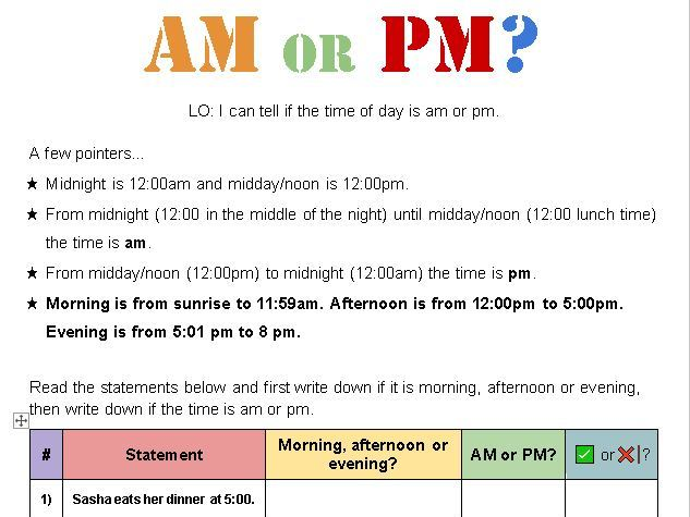 Telling the Time - AM or PM? [Designed for Online]