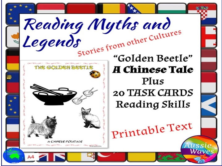Myth Legend Chinese GOLDEN BEETLE Text & Task Cards Connections Close Questions