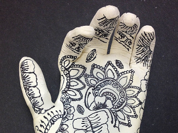 Zentangle Modroc Hand Sculpture