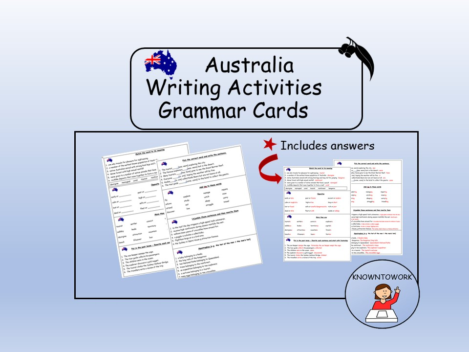 Australia Writing: Grammar Cards