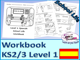 SIX SHEET PRIMARY KS2/3 SPANISH COPIABLE WORKBOOK:Instructions,time/hour,register,class objects etc.