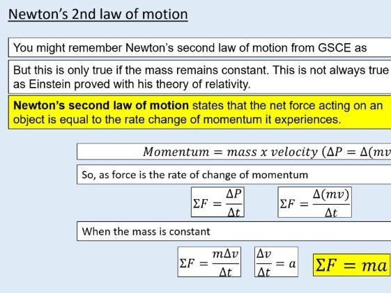 A level Physics (8.1) Force and acceleration (Newton's laws of motion)