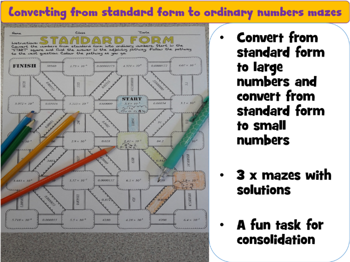 Converting standard form to ordinary numbers fun maze activity