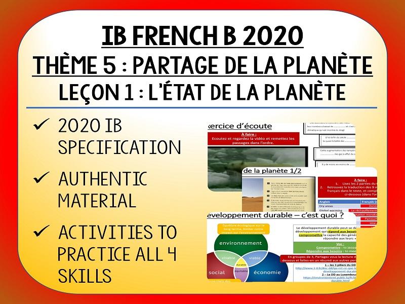 IB FRENCH B 2020 - Partage de la Planète - L1 - L'état de la planète