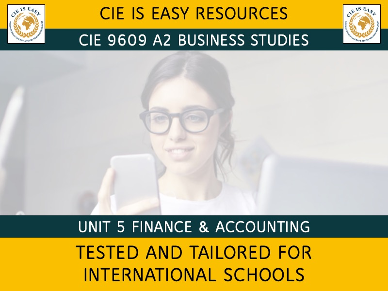 9609 CIE A Level Business Unit 5- Finance