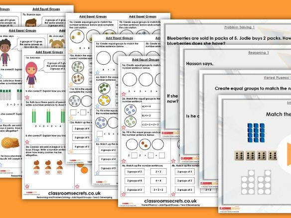 Year 2 Add Equal Groups Autumn Block 4 Step 3 Lesson Pack