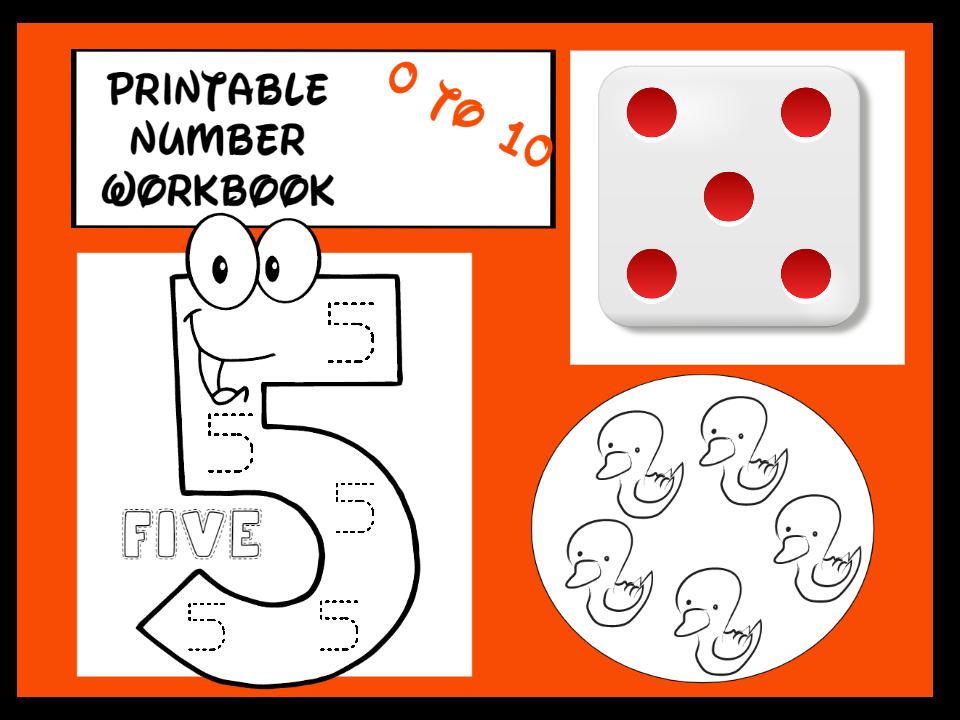 Printable Number Workbook  0 to 10 EYFS KS1