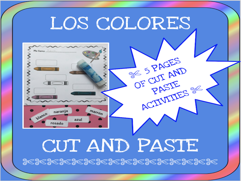 Spanish colors cut and paste activity - Los colores