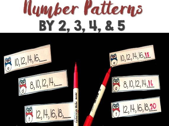 Naplan Review Number Patterns By 2,3,4,5,6,7,8,9 and 10 Dry Erase Strips