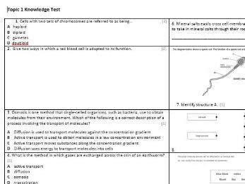 Edexcel CB1 Biology Knowledge Assessment