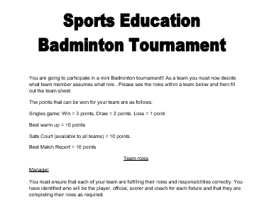 Badminton Sports Education Booklet