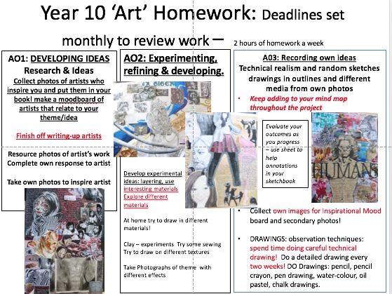 GCSE Outline homework- 1 page year 10 - outline of assessment objectives