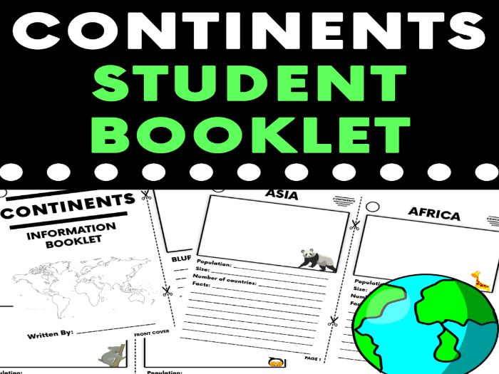 Continents Research Booklet