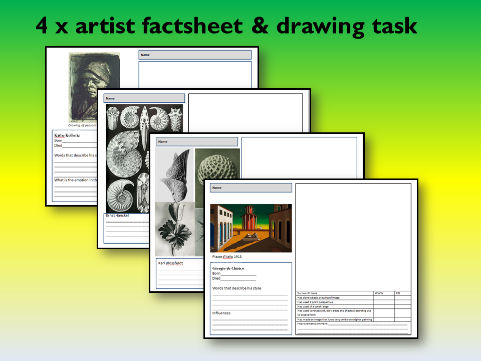 4 x artist fact sheet and drawing tasks