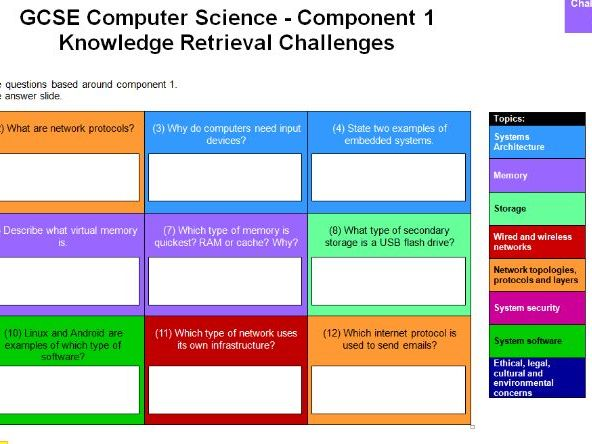 GCSE 9-1 Computer Science Challenge Grids (& Answers)