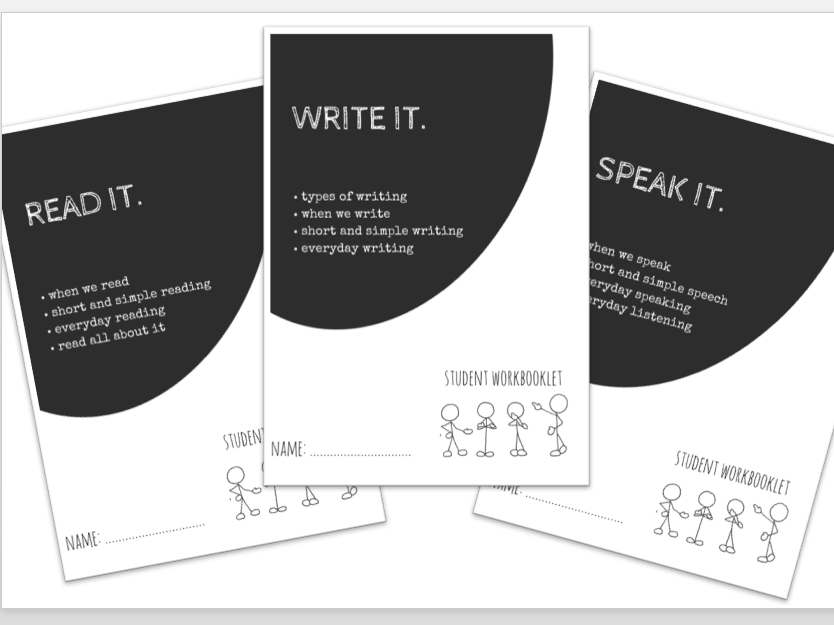 LITERACY bundle - READ IT. WRITE IT. SPEAK IT x3 workbooklets