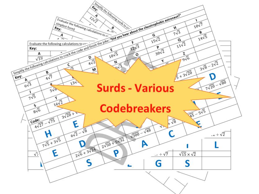 Surds - 6 Various Codebreaker activities